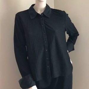 Tops - Black Textured Collared Button Down